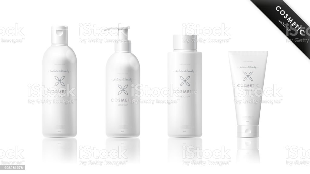 Realistic bottle set. Cosmetic brand template vector art illustration