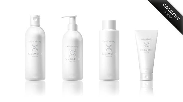 Realistic bottle set. Cosmetic brand template vector art illustration