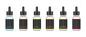 Realistic bottles mock up with tastes for an electronic cigarette with different fruit flavors. Dropper bottle with liquid for Vape. Vector illustration