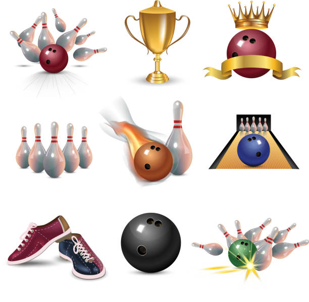 Realistic bowling icon set isolated on white background. Bowling strike with ball vector art illustration