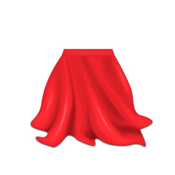 realistische feld bedeckt mit roter seide stoff isoliert auf weißem hintergrund. vektor-illustration. - entdeckungskiste stock-grafiken, -clipart, -cartoons und -symbole