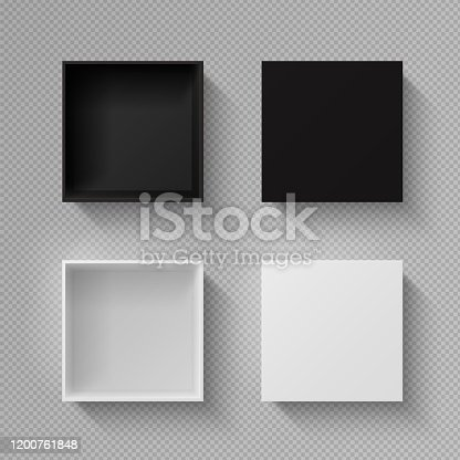 istock Realistic box top view. Open black blank package mockup on transparent background. Vector white empty square mysterious container for holiday gift 1200761848