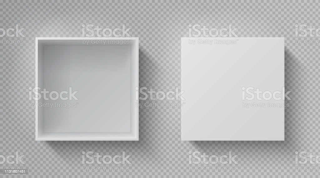 Realistic box top view. Open white package mockup, cardboard closed gift box blank paper pack. Square container vector template royalty-free realistic box top view open white package mockup cardboard closed gift box blank paper pack square container vector template stock illustration - download image now