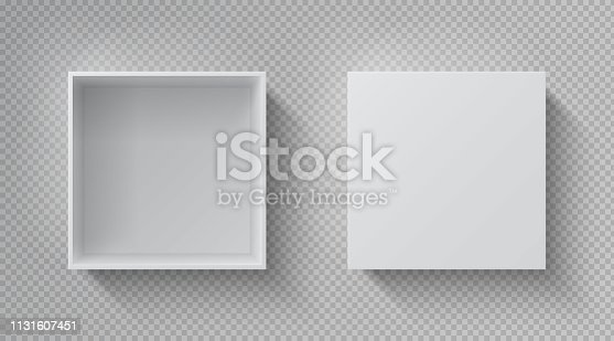 Realistic box top view. Open white package mockup, cardboard closed gift box blank paper pack. Square container vector design template