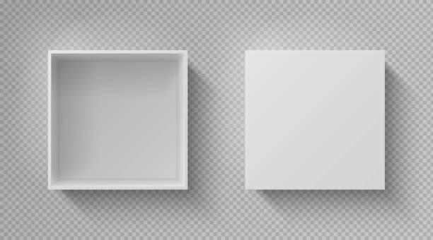 ilustrações, clipart, desenhos animados e ícones de vista superior realística da caixa. abrir maço pacote branco, papelão fechado caixa de presente em branco pacote de papel. molde quadrado do vetor do recipiente - aberto