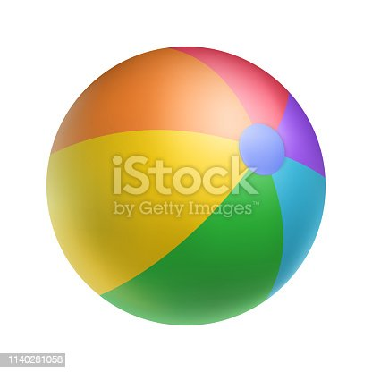 Realistic bright inflatable ball. Striped beach ball for game vector illustration. Children toy for active game isolated on white background. Sports and outdoors leisure. Multicolor rubber balloon