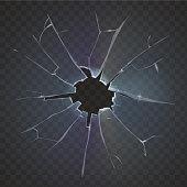 Realistic broken glass broken frosted window pane on black background destruction vector illustration