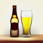 istock Realistic Brown Bottle And Glass Of Lager Vector 1145191151