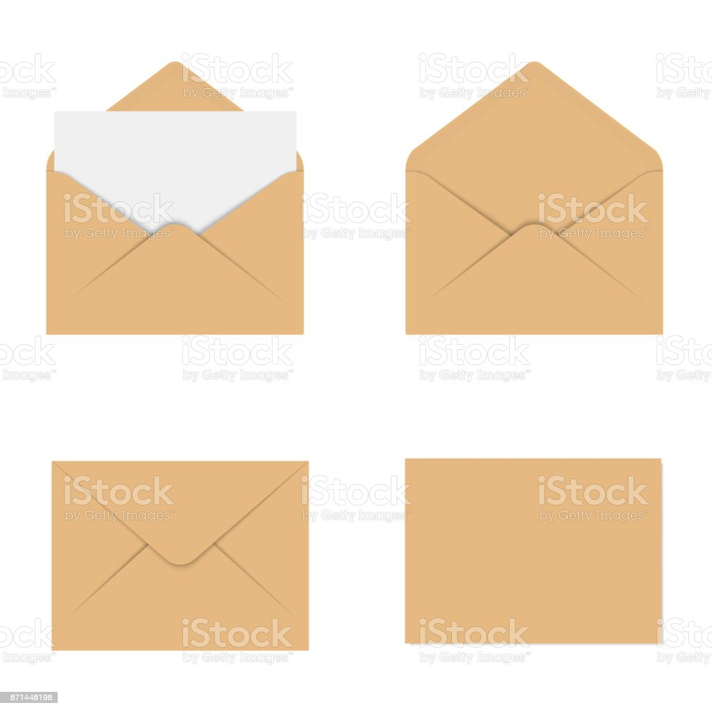 Realistic Brown Mockup Envelope For Letter Or Invitation