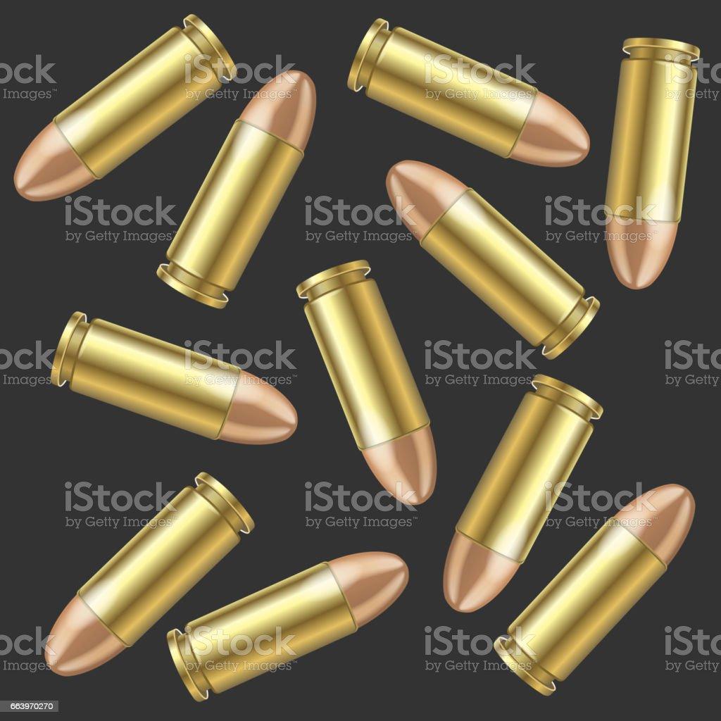Realistic Bullet Pattern Background. Vector vector art illustration
