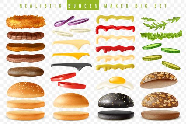 Realistic burger maker big transparent background set Realistic ready Burgers maker set with isolated elements which are easy to change and move on transparent background with separate isolated items pickle slice stock illustrations