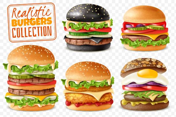 Realistic burgers collection transparent background set. Realistic ready Burgers set with isolated elements which are easy to change and move on transparent background with separate isolated items Realistic ready Burgers set with isolated elements which are easy to change and move on transparent background with separate isolated items pickle slice stock illustrations