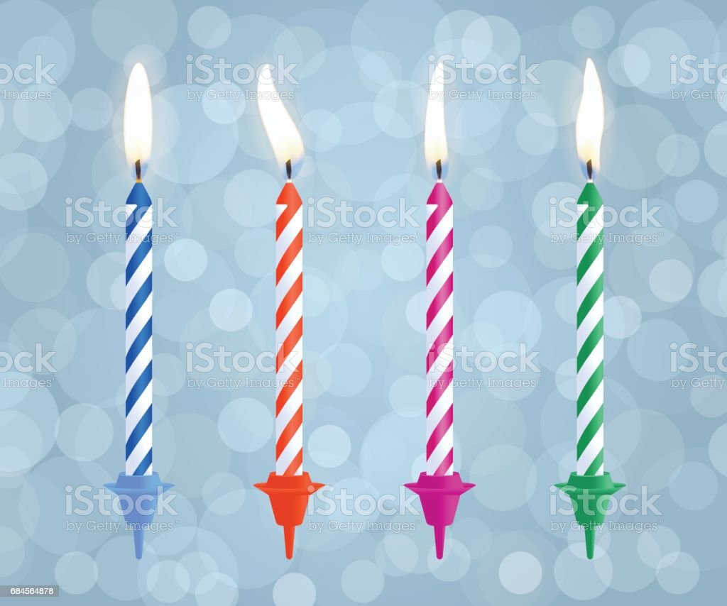 Realistic Burning Birthday Cake Candles Set Isolated On Bokeh Background Vector Illustration Royalty