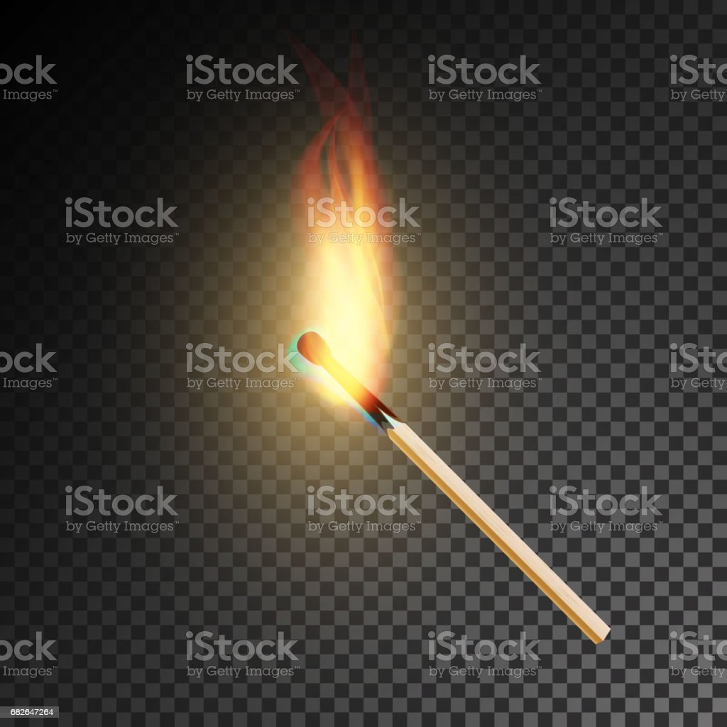 Realistic Burning Match Vector. Burning Match On Transparency Grid Background vector art illustration