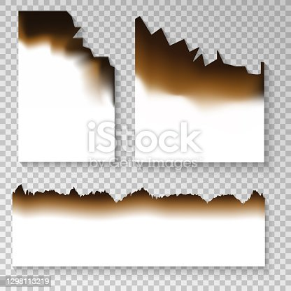 istock Realistic burnt paper set on the transparent background Vector 1298113219