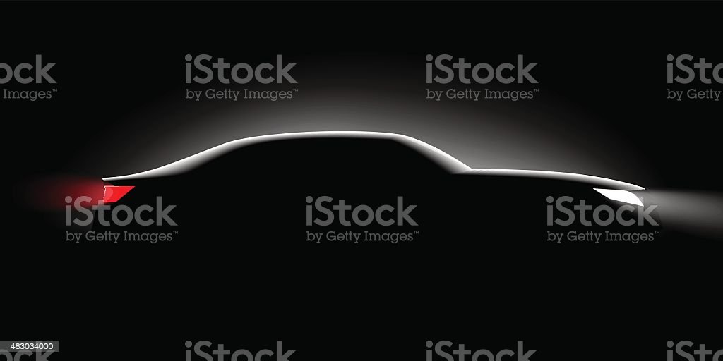 realistic business car silhouette in the dark vector art illustration