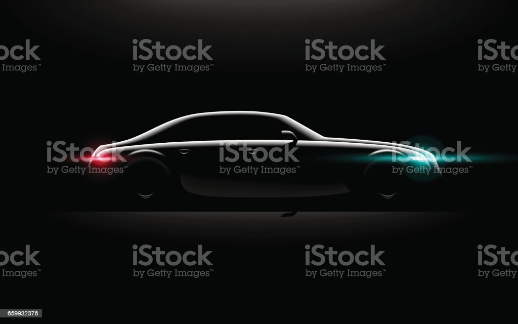Realistic business luxury prestige car lit in the dark vector art illustration