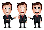 3D Realistic Businessman Cartoon Character with Different Pose