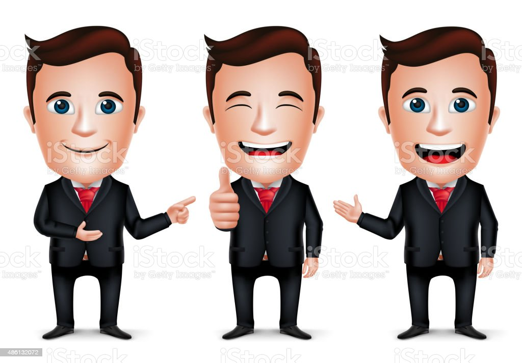 3D Realistic Businessman Cartoon Character with Different Pose vector art illustration