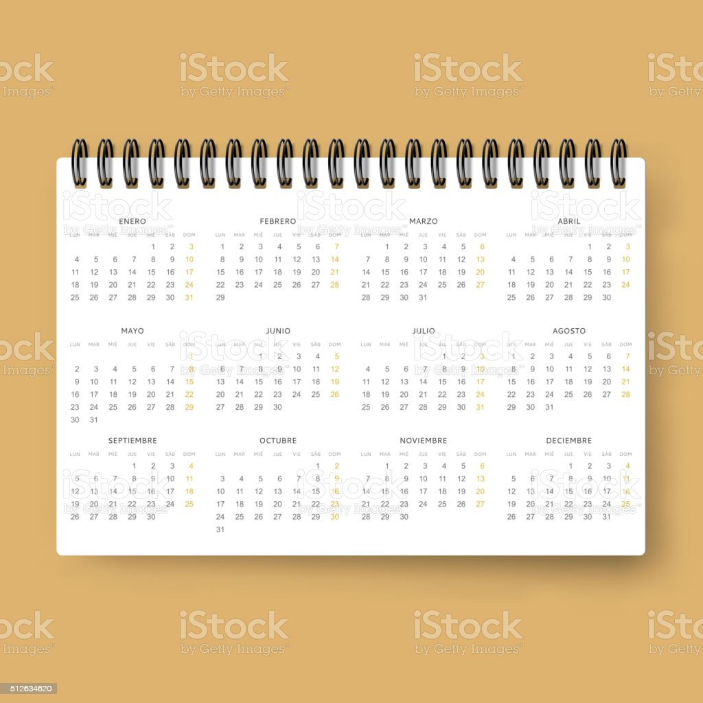 Realistic calendar. Calendar template in Spanish 2016. Ready calendars vector art illustration