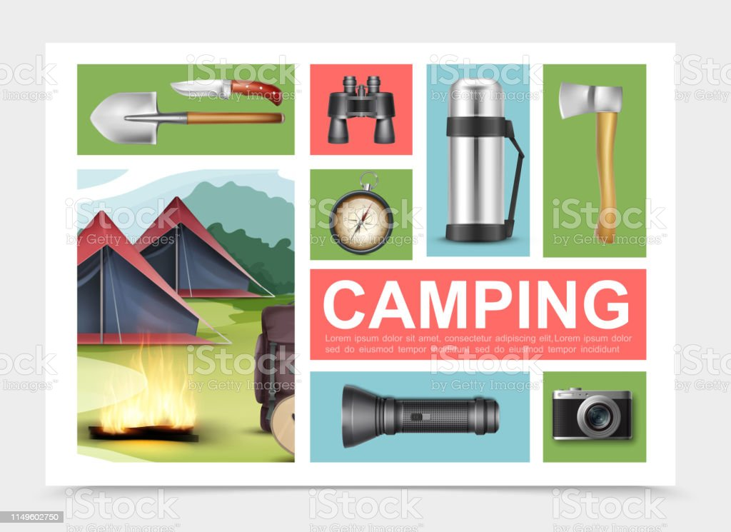 Realistic camping elements composition with shovel axe knife...