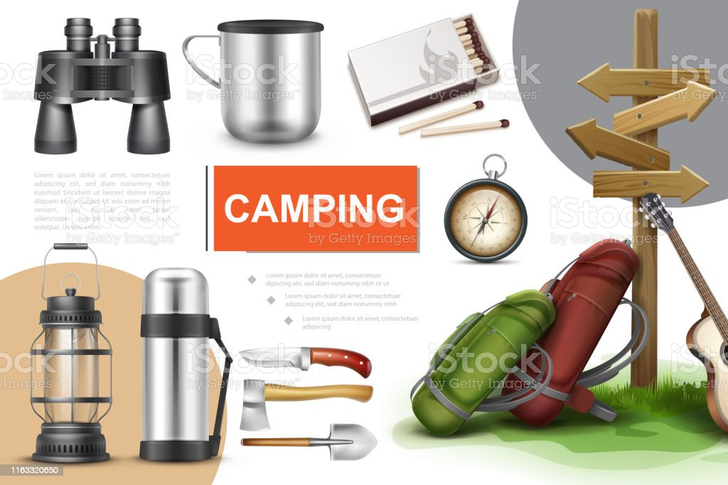 Realistic camping elements composition with binoculars cup matches...