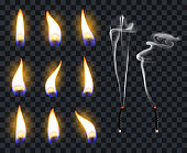 Realistic candle flames. Candlelight fire flame, candles warm burn. Fire transparent illuminate flames vector illustration symbol set. Warm light glowing, burning illuminate wick