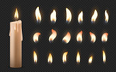 Realistic candles. 3D burning celebration wax candles with different small glowing flames. Vector fire illumination birthday party, church candles set on black transparent background