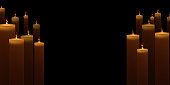 Realistic candles are on fire. Vector illustration. Candlelight on black background.