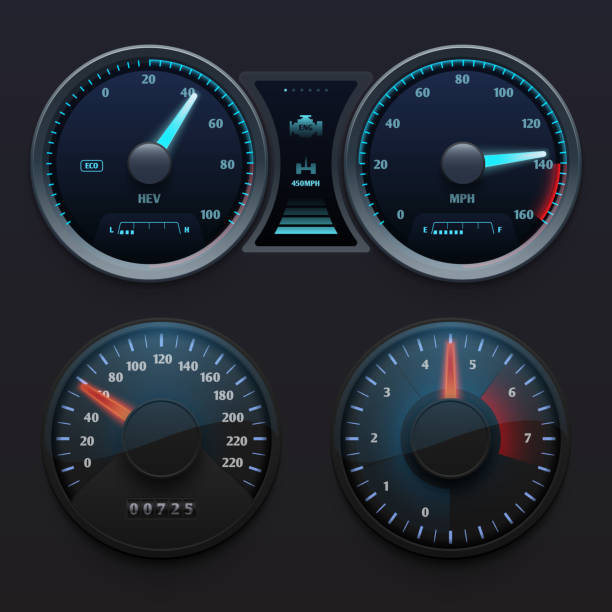 Realistic car dashboard speedometers with dial meter. Rapid symbols vector set Realistic car dashboard speedometers with dial meter. Rapid symbols vector set. Illustration of dashboard with speedometer panel speedometer stock illustrations