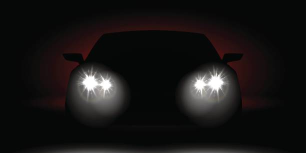 stockillustraties, clipart, cartoons en iconen met realistisch auto koplampen schijnen in de donkere vooraanzicht - mist donker auto