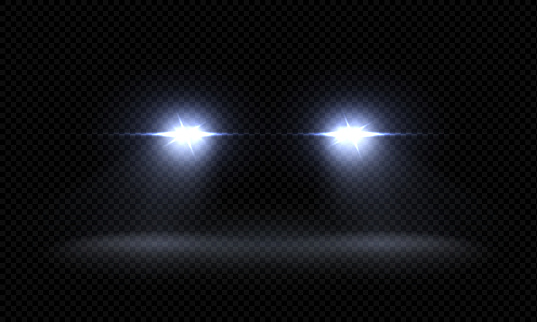 Realistic car headlights. Train front light beams, transparent bright glowing light rays, night road light effects. Vector 3d lights