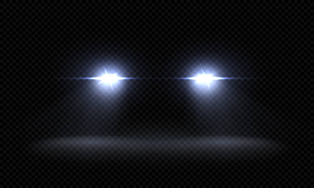 realistic car headlights. train front light beams, transparent bright glowing light rays, night road light effects. vector 3d lights - reflektor światło elektryczne stock illustrations