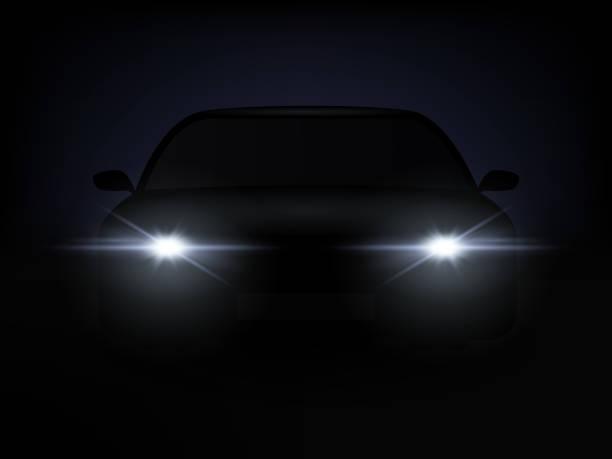 illustrazioni stock, clip art, cartoni animati e icone di tendenza di realistic car lights effect from darkness background. vector - close up auto