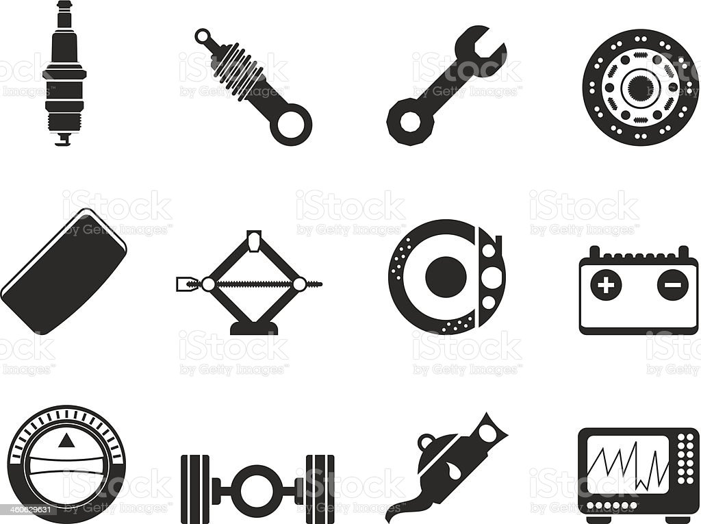 realistic car parts and service related symbols and icons