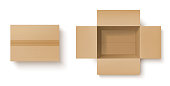 istock Realistic cardboard box mockup of delivery package 1248802261