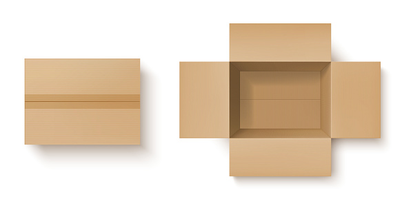 Realistic cardboard box mockup of delivery package