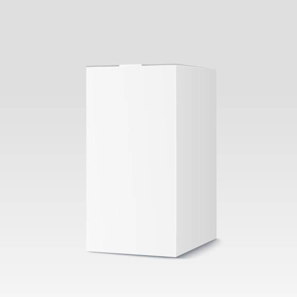 Realistische cardboard box auf weißem Hintergrund. Weißen Behälter, Verpackung – Vektorgrafik