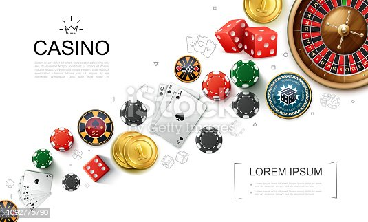 Realistic casino elements concept with roulette game dices playing cards and poker chips vector illustration