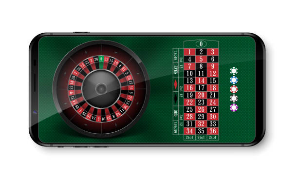 ilustrações de stock, clip art, desenhos animados e ícones de realistic casino roulette wheel with chips isolated on green table. online 3d casino roulette on smartphone with place for text. vector illustration - enjoying wealthy life