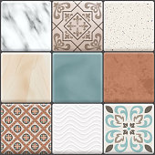 Colored realistic ceramic floor tiles icon set different types colors and patterns vector illustration