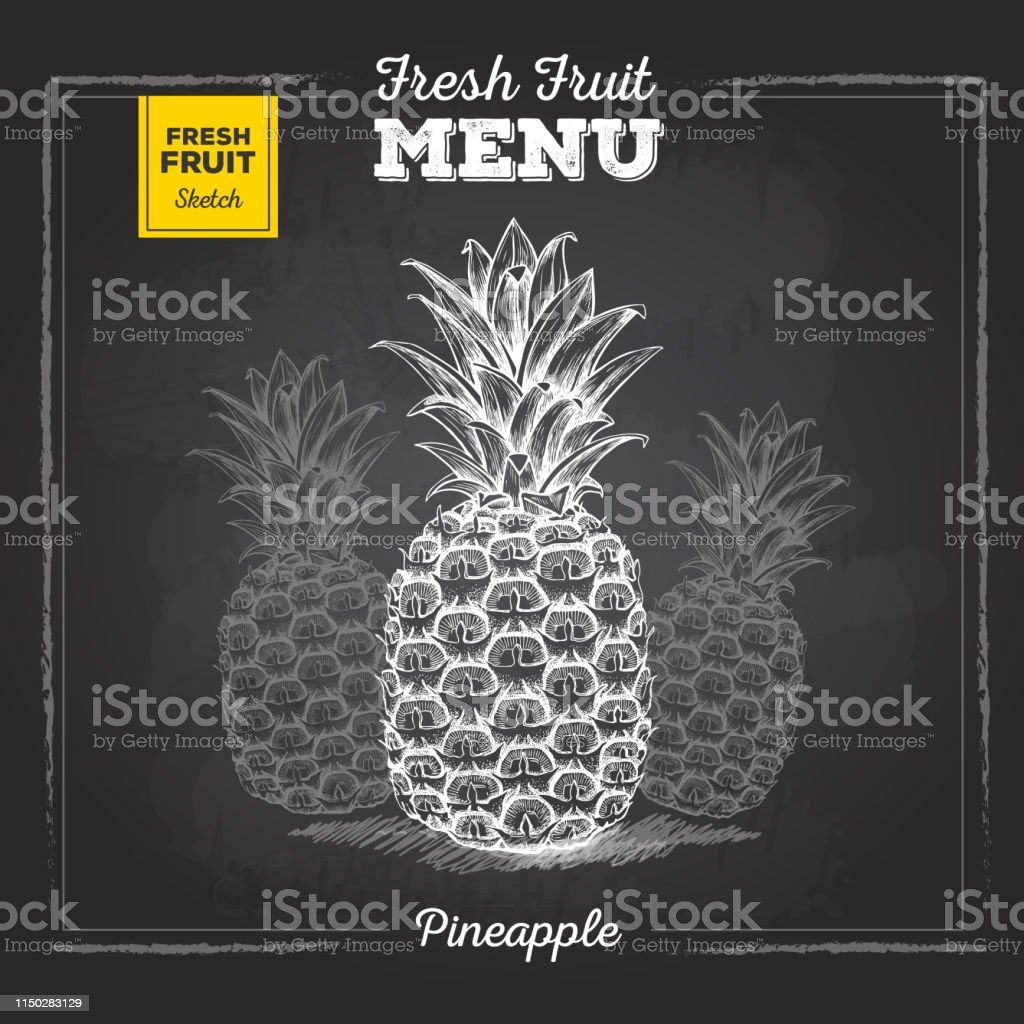 Realistic chalk drawing illustration of tropic fruit pineapple