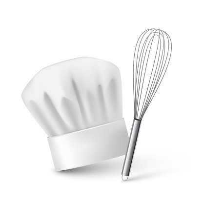 Realistic chef hat and kitchen whisk on plain background