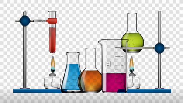 realistische chemielabor unterhaltungsausstattung. flaschen, becher, geist glaslampen - becherglas stock-grafiken, -clipart, -cartoons und -symbole