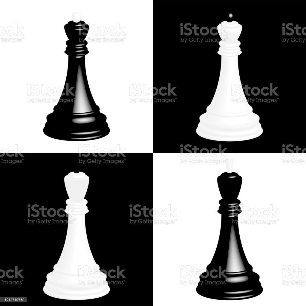 Realistic chess pieces on black and white chessboard cells the black king and the black queen white king and white queen illustration