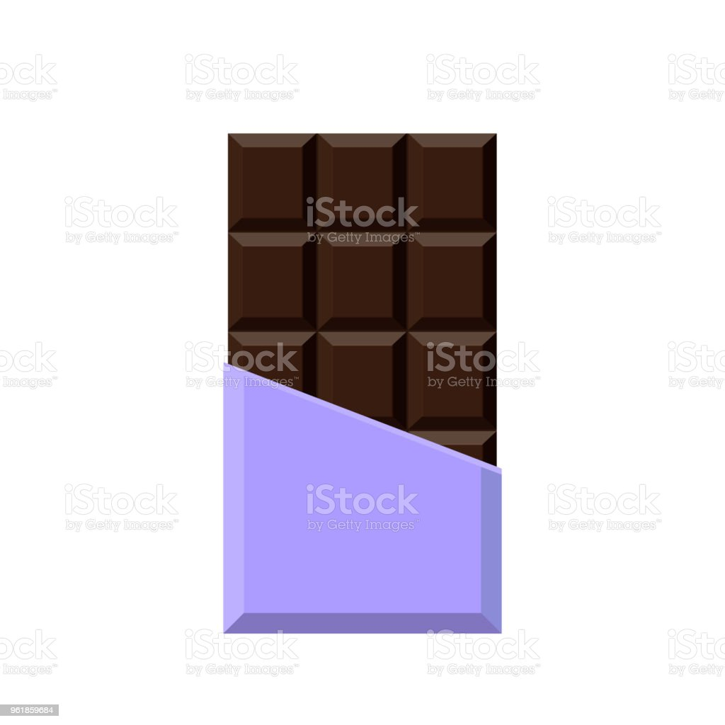 Realistic chocolate bar isolated on white background. vector art illustration