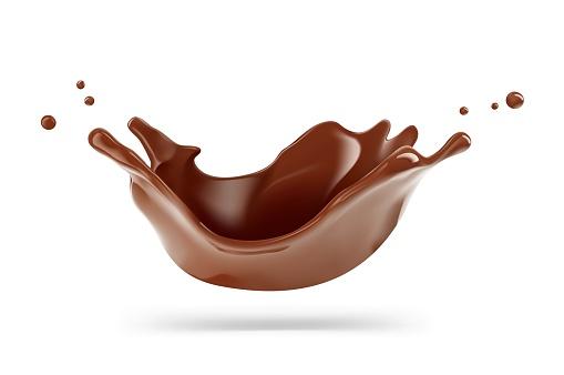 Realistic chocolate corona splash.