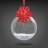 Realistic Christmas Ball Vector. Shiny Glass Xmas Holidays Tree Toy With Snowflake And Red Bow. Isolated