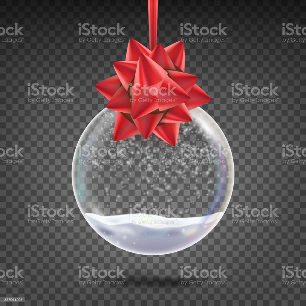 Realistic Christmas Ball Vector. Shiny Glass Xmas Holidays Tree Toy With Snowflake And Red Bow. Isolated On Transparent Background Illustration vector art illustration