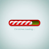 Realistic christmas candy cane progress bar on light background. Vector illustration icon.